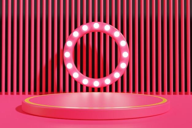Rendu 3d. podium rouge vide pour une présentation minimale du produit.