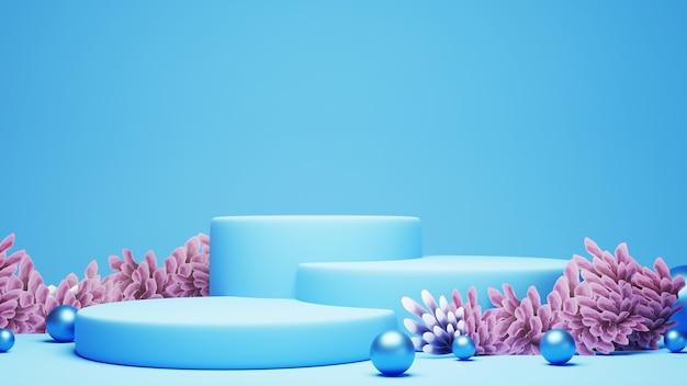 Rendu 3d de podiums bleus avec des sphères bleues et des récifs coralliens
