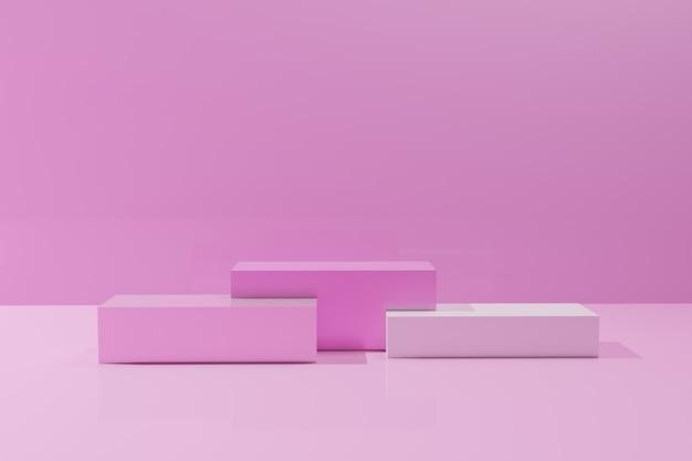 Rendu 3d des podiums de cube de couleur rose sur fond monochrome