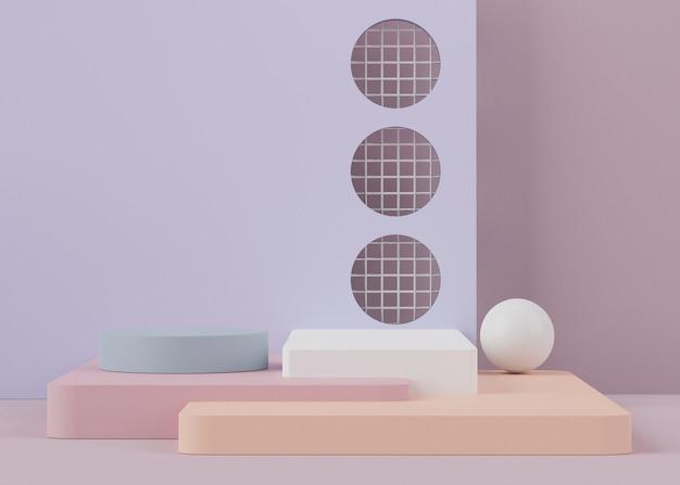 Rendu 3d De Podiums Avec Des Formes Géométriques Photo Premium