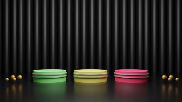 Rendu 3d de podiums multicolores sur fond noir foncé brillant avec des boules d'or