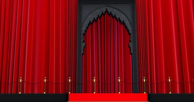Rendu 3d de la porte arabe noire avec barrière de corde rouge, tapis rouge, concept vip