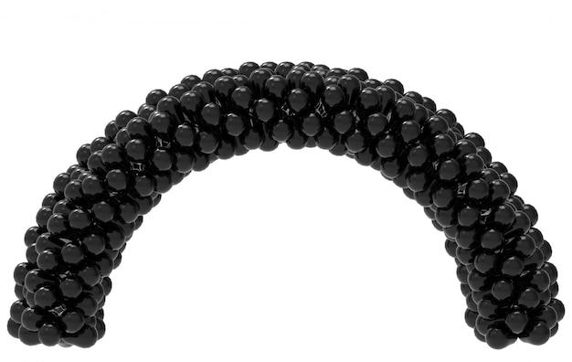 Rendu 3d. porte cruve ballon noir isolé sur blanc avec un tracé de détourage.