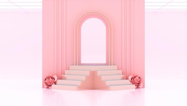 Rendu 3d porte rose avec podium et roses coeur
