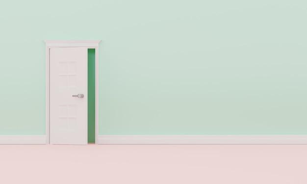 Rendu 3d porte simple ouverte. intérieur de mur pastel vide