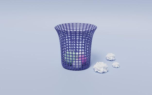 Rendu 3d d'une poubelle avec des papiers épars