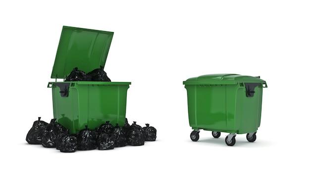 Rendu 3d des poubelles vertes