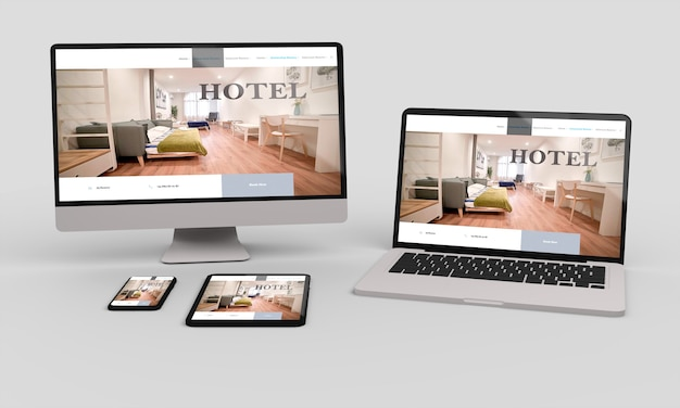 Rendu 3d pour ordinateur portable, mobile et tablette montrant la conception de sites web réactifs de l'hôtel.