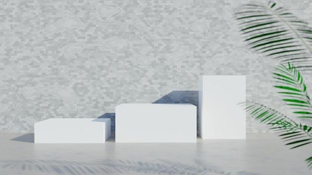Rendu 3d. présentoir blanc ou podium pour produit d'exposition et salle vide avec sol en béton