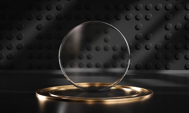 Rendu 3d de produit d'affichage d'or noir en verre de cercle de scène de podium