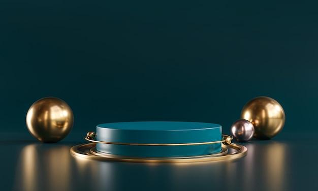 Rendu 3d de produit d'affichage de sarcelle foncé de sphère d'or de scène de podium