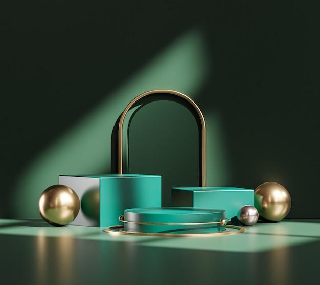 Rendu 3d de produit d'affichage de sphère d'or vert de porte d'étape de podium de piédestal architectural classique