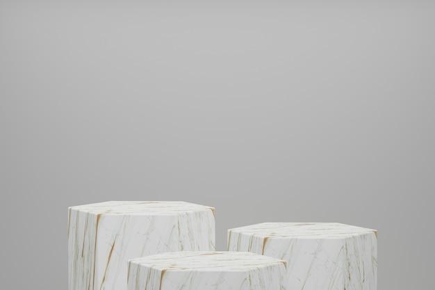 Rendu 3d produit stand, piédestal, forme hexagone, textable mable