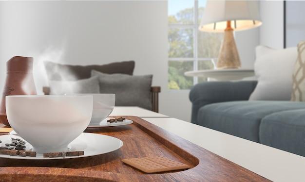 Rendu 3d profondeur de champ bon café avec de la fumée sur la table