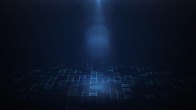 Rendu 3d d'un projecteur qui brille sur un fond sombre et un sol futuriste sci fi.