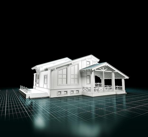 Rendu 3d d'un projet de maison. architecture