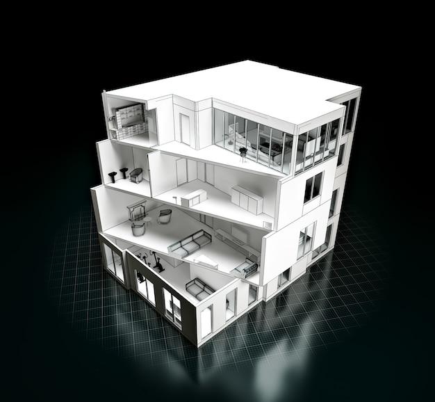 Rendu 3d d'un projet de maison. modèle dans une coupe. architecture