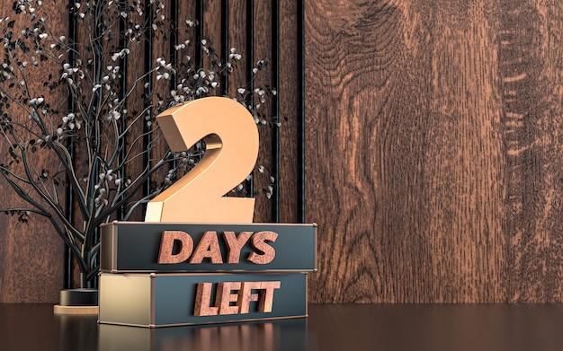 Rendu 3d promotionnel nombre de jours à gauche conception de symbole de signe avec fond de texture bois