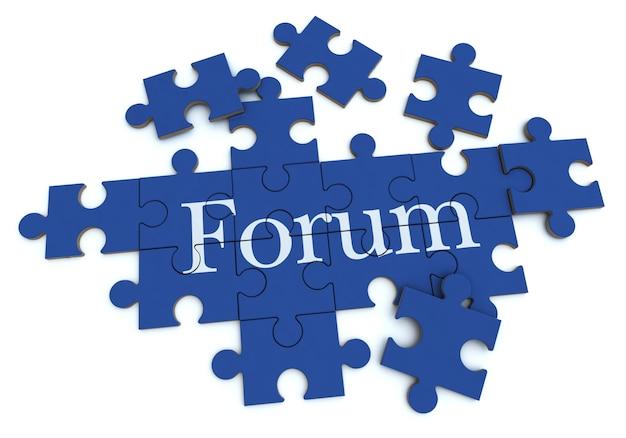 Rendu 3d d'un puzzle de formation avec le mot forum