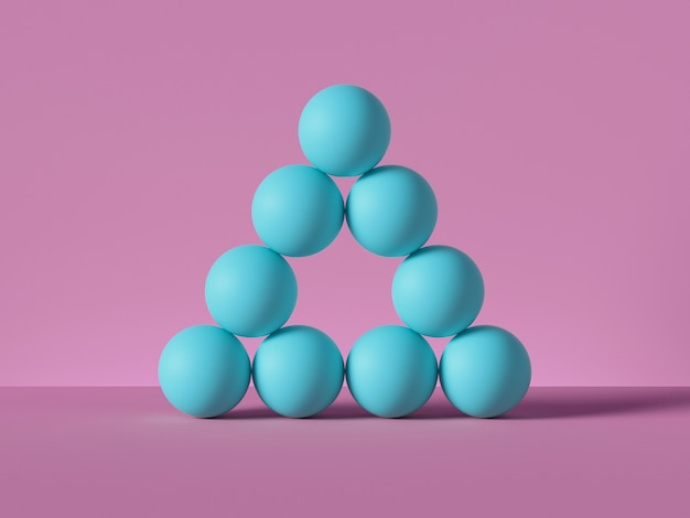 Rendu 3d, pyramide de boules bleues isolées