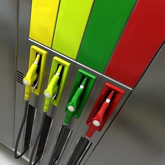 Rendu 3d de quatre pompes à essence aux couleurs vives avec des étiquettes vides