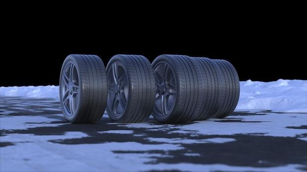Rendu 3d de quatre roues de voiture sur une route enneigée avec canal alpha