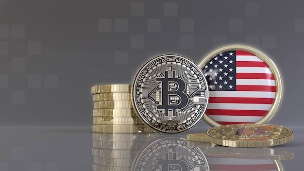 Rendu 3d de quelques bitcoins métalliques devant un badge avec le drapeau américain