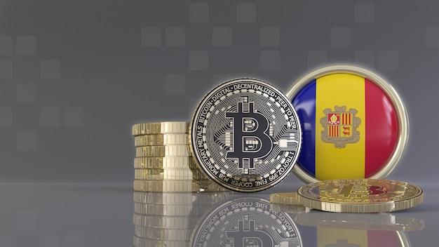 Rendu 3d de quelques bitcoins métalliques devant un badge avec le drapeau andorran