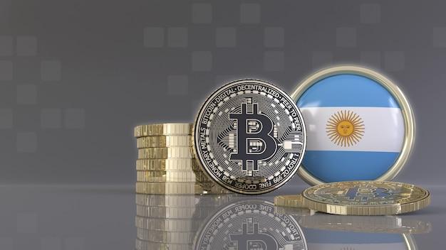 Rendu 3d de quelques bitcoins métalliques devant un badge avec le drapeau argentin