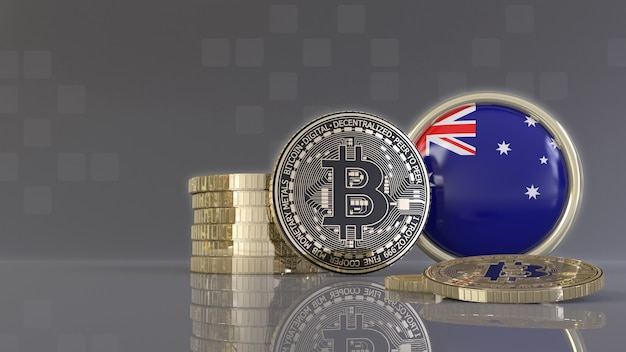 Rendu 3d de quelques bitcoins métalliques devant un badge avec le drapeau australien