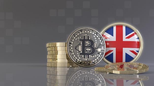 Rendu 3d de quelques bitcoins métalliques devant un badge avec le drapeau britannique