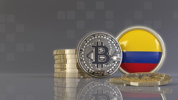 Rendu 3d de quelques bitcoins métalliques devant un badge avec le drapeau colombien