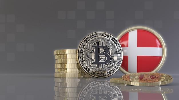 Rendu 3d de quelques bitcoins métalliques devant un badge avec le drapeau danois