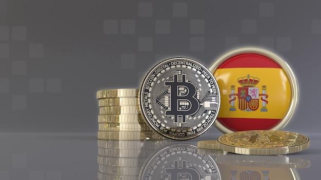 Rendu 3d de quelques bitcoins métalliques devant un badge avec le drapeau espagnol