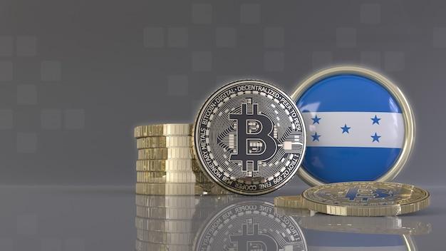 Rendu 3d de quelques bitcoins métalliques devant un badge avec le drapeau hondurien