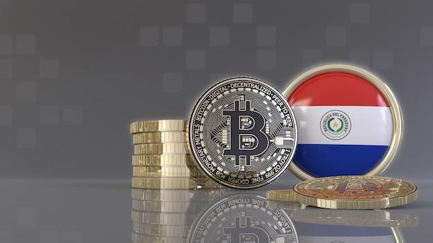 Rendu 3d de quelques bitcoins métalliques devant un badge avec le drapeau paraguayen