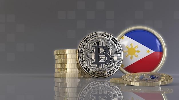 Rendu 3d de quelques bitcoins métalliques devant un badge avec le drapeau philippin