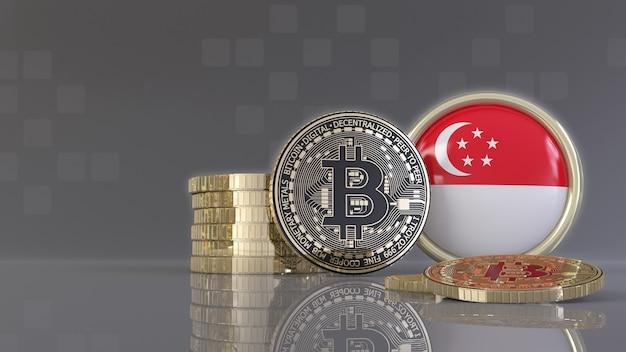 Rendu 3d de quelques bitcoins métalliques devant un badge avec le drapeau singapourien