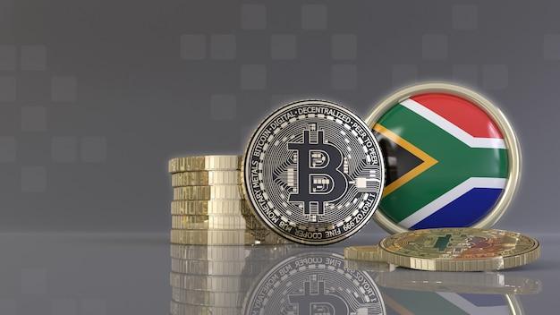 Rendu 3d de quelques bitcoins métalliques devant un badge avec le drapeau sud-africain