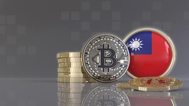 Rendu 3d de quelques bitcoins métalliques devant un badge avec le drapeau taïwanais