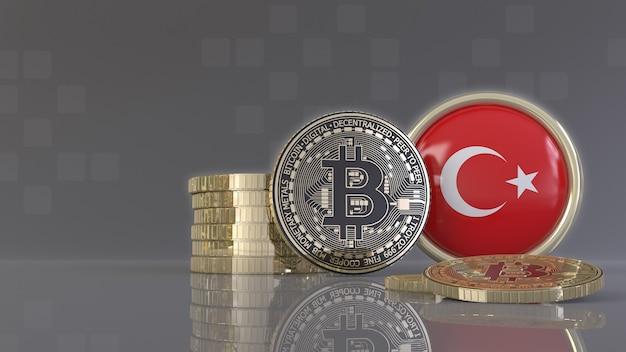 Rendu 3d de quelques bitcoins métalliques devant un badge avec le drapeau turc