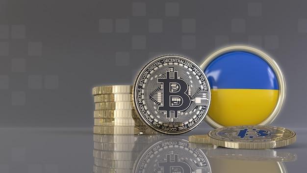 Rendu 3d de quelques bitcoins métalliques devant un badge avec le drapeau ukrainien