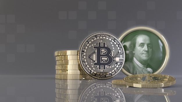 Rendu 3d de quelques bitcoins métalliques devant un badge avec le visage de benjamin franklin