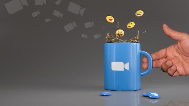 Rendu 3d de quelques emojis tombant dans un mug bleu avec le logo de l'application zoom