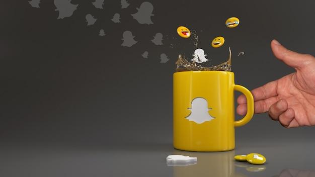 Rendu 3d de quelques emojis tombant dans une tasse jaune avec le logo snapchat