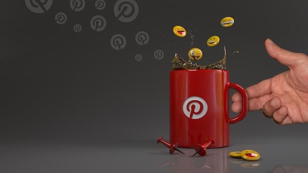 Rendu 3d de quelques emojis tombant dans une tasse rouge avec le logo pinterest devant deux épingles rouges.