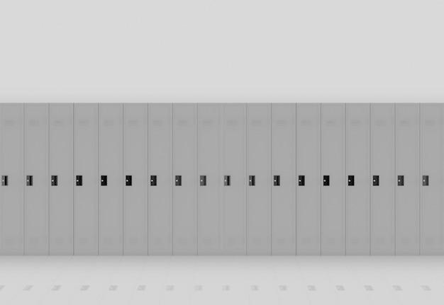Rendu 3d. rangée de casiers en métal gris sur fond de mur lumière.