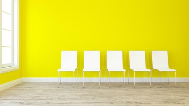 Rendu 3d d'une rangée de chaises dans une pièce vide