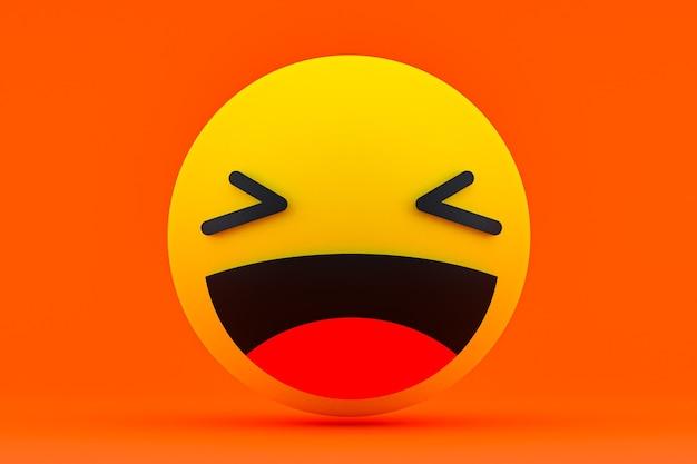 Rendu 3d de réactions facebook emoji, symbole des médias sociaux