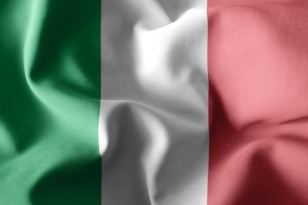 Rendu 3d réaliste agitant le drapeau de soie de l'italie
